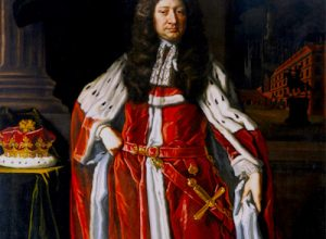 Oil painting on canvas, John Manners, 1st Duke of Rutland (1638 ? 1711) by John Baptist Closterman (fl.1690-1713), signed lower left: J. Baptist. Closterman / 'Pinxet and inscribed lower left, in black: First Duke of Rutland. A full-length portrait, standing slightly left, wearing coronation robes, his right hand on his hip, a table beside him (left) on which is his coronet; a window, right, with a view of a street and equestrian statue, dramatically lit at night, or as if by firelight. Four storey brick house on a square with a triple-arched entry and a bizarre cathedral (?) beyond - ?Treasury Building & Westminster Abbey? (possibly a reference to Princess Anne's flight from Whitehall, following which Manners gave her refuge?).